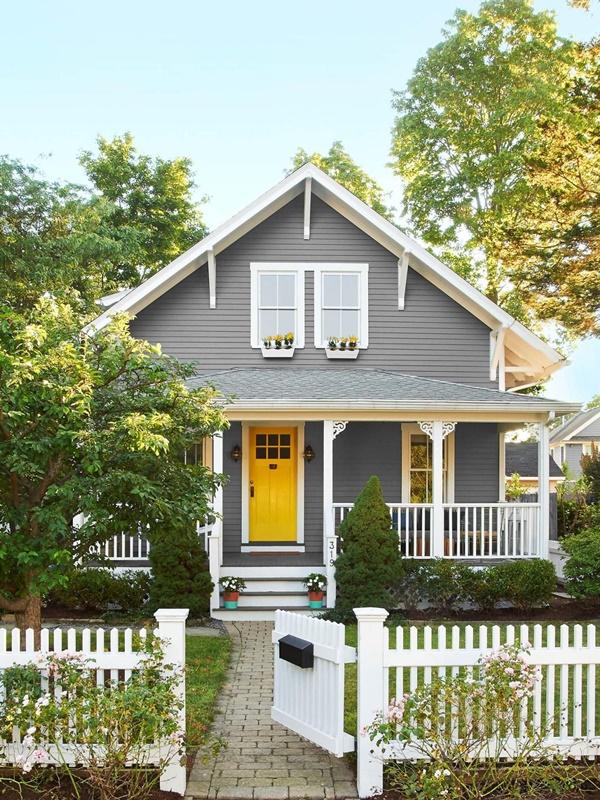 Best Grey House Yellow Door Painting Ideas