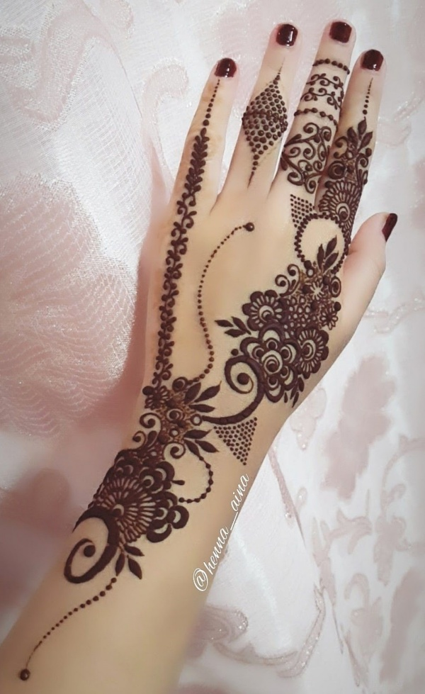 left hand mehndi design simple